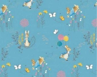 Peter Rabbit Fabric, Peter Rabbit childrens fabric, blue Peter Rabbit Fabric, Beatrix Potter fabric, Teal Beatrix Potter fabric, teal fabric