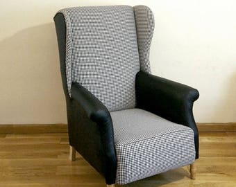Black and white patterned armchair.