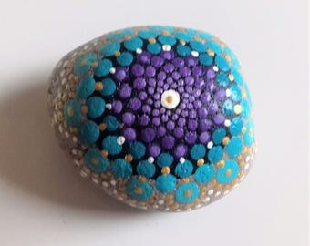 Mandala stone, hand panted, beach pebble, nautical, ocean, sea, original art, boho home, birthday gift, housewarming gift, beach gift