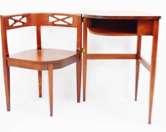 Vintage 1950 Mid Century Superior Table Mahogany Fold Out Gossip Bench