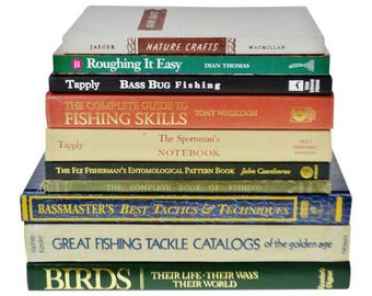 Vintage Fishing, Birding and Outdoors Coffee Table Books - Group of 10
