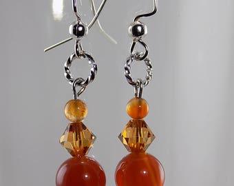 Carnelian stones,Swarovski Crystals,orange, semi precious,silver wire