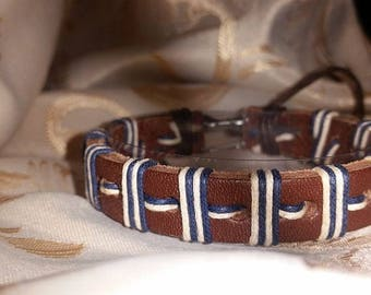 Different leather bracelets genuine leather-with beads, pearls, etc.-size adjustable