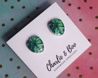 Acrylic Monstera Studs - Green Leaf Studs - Monstera Earrings - Leaf Earrings - Monstera Jewellery