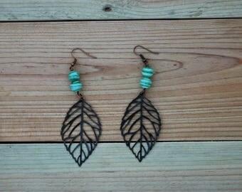 Leaf earrings, copper leaf earrings, skeleton leaf earrings, gift for friend, gift for her