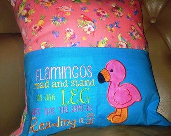 Flamingo Book Pillow