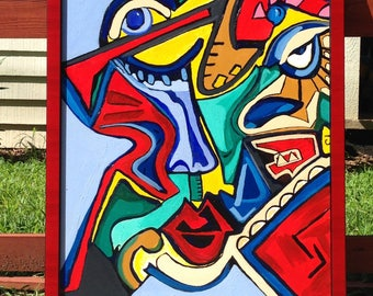 Warrior of Jazz Original Framed Acrylic Painting Free shipping