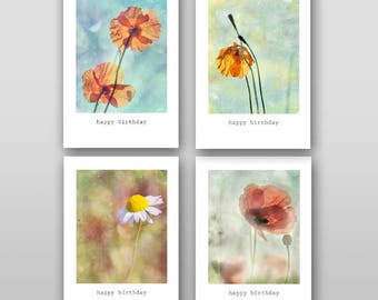 Happy Birthday Card Set of 4 printable cards Printable Birthday Card Greeting Card Like watercolor Birthday Flowers Poppies cards Poppy