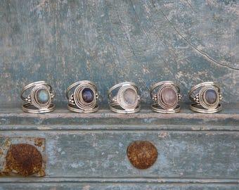 Silver Sterling 925 Ring Moon Stone Labradorite Rose Quartz Bague en Argent et pierre de lune bague original modern ring