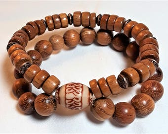 Wood Double Strand Stretch Bracelet