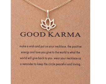 Good Karma, Lotus Flower Necklace, Reminder, Gifts for Her, Yoga, Dogeared Necklace, Gifts, Balance, Reminder, Card, Gold Dipped,