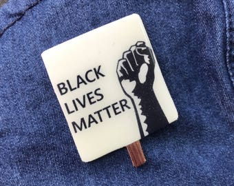 Black Lives Matter Pin, Raised Fist Lapel Pin, Mini Protest Sign, Resist Racism Brooch, Anti-Trump Poster, Human Civil Rights March, Rise Up