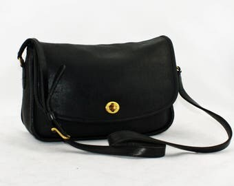 Vintage Coach Classic City Bag Crossbody Style No. 9790 in Black, Glove-Tanned Leather, Desginer Handbag