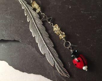Feather ladybird bookmark butterfly citrine book mark
