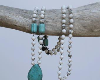 Mala, Howlite and Lava 108 bead necklace