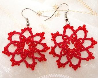 Red tatting earrings