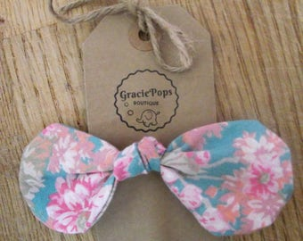 Girls large pink/green floral print bow hair tie/elastic