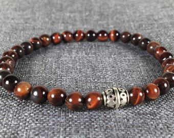 Men's Tiger Eye 6mm Beads Stretch Bracelet