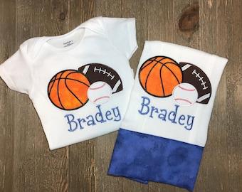 Personalized Sports Onesie and burp cloth set/ Custom/ Sports/ Baseball/ basketball/ football/ bodysuit
