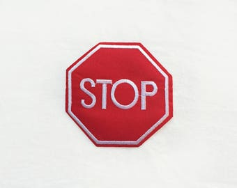 1x STOP road sign patch - Iron On  embroidered Applique red white traffic symbol