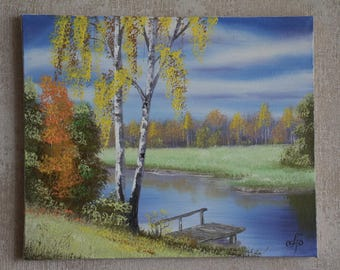 """Painting """"Autumn at the River"""" Painter Andrey Bagno"""