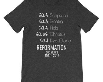 Five Solas Reformation Day 500th Anniversary Christian Martin Luther Reformed Evangelical T-shirt