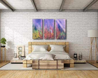 Large Split Canvas Print Nature Art photography Wall Art Home Decor picture flower triple panel 100% natural cotton canvas High Quality