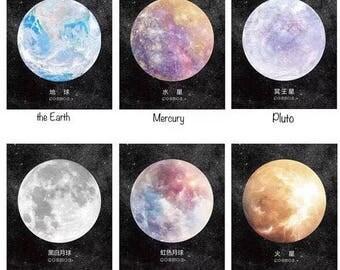 Galaxy sticky reminder, Galaxy sticky memo notes, Earth sticky, Mars sticky, Mercury bookmark, Moon memo pad, Pluto planner