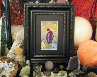 Fabric Tarot Card Art, Six of Pentacles, 3x5 inch, matted, unframed, mixed media