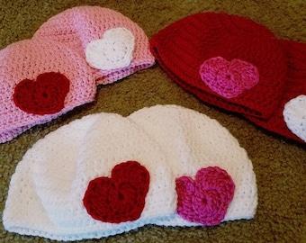 Crochet Valentine's Day Hat/Hershey Kiss Hat/Baby/Kids/Teen/Adult