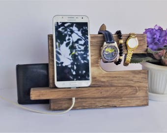 Shabby vintage Style  Wooden Charging Station Phone Charging Valet Glasses Holder Nightstand Organization iPhone Night Stand Oak Wood