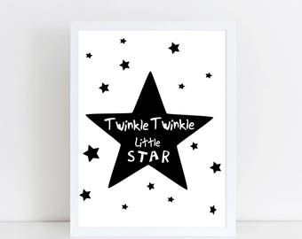 Twinkle Twinkle little star - Nursery Twinkle - Nursery Prints - monochrome Nursery Art - monochrome Nursery Decor - monochrome Baby room