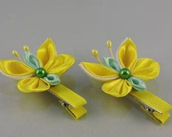 Butterfly hair clip. Set of 2 hair clips. Yellow butterflies. Girls hair clips. Free shipping