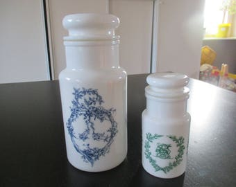 Set of 2 opal glass apothecary jar