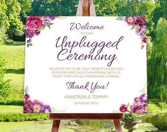 """22""""x28"""" Unplugged Ceremony Sign, INSTANT DOWNLOAD TEMPLATE"""