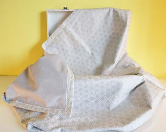 """""""Silver and white blossoms"""" minky and cotton baby blanket"""