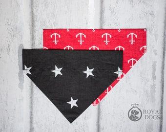 Black & Red Dog Bandana | Over The Collar Dog Bandana | Cotton Dog Bandana | Black Stars Dog Bandana | Dog Gift | Over the collar | UK
