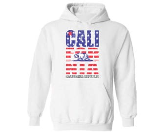 California Republic USA Flag Hooded Sweatshirt Hoodie  Cali Independence Day 4th of July Gift