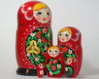 "Nesting Dolls Khokhloma, Berries, Russian ornaments BIG 6.9"",  russian nesting doll, traditional russian matryoshka, russian folk art"