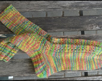 Colorful Hand knitted Socks women's size UK 6,5-7,5 / US 8,5-9,5 with little cables