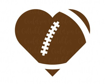 Heart Football SVG File - Love Football Clipart - Heart Shaped Football - Sports DXF EPS Png Cut File - Digital File - Instant Download