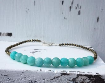 Amazonite and Pryite Sterling Silver bracelet