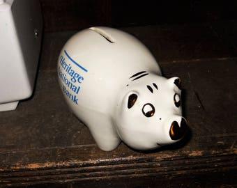 Heritage National Bank Racine Wisconsin Vintage Buntingware Pig Coin Bank - Free Shipping