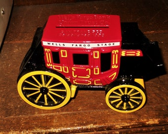 Wells Fargo Stage Coach San Francisco 1998 Dicast Metal Coin Bank Stagecoach - Free Shipping