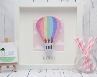 Hot air balloon frame, new baby gift, christening gift, baby shower gift, nursery decor, personalised gift, birthday gift, wooden box frame