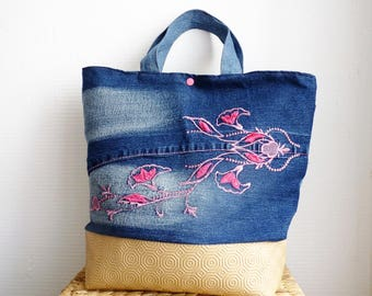 Roses and Blue recycled denim shopping bag