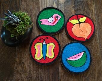 Huichol Mexican Yarn Folk Art Coasters, Set of 4