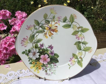 Cake Plate ~ Royal Grafton fine bone china vintage cake plate in 'Country Flowers' design