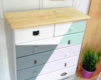 Dresser / chest of drawers-Nordic-style shapes geometric FOUR COLORS