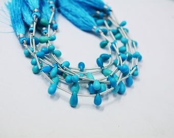 AAA Quality Natural Arizona TURQUOISE / Sleeping Beauty TURQUOISE Plain Tear Drops Beads / 10 pcs / 4.5-6.0mm